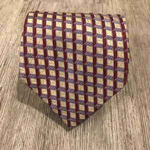Canali Checkered Seta Silk Italian Tie